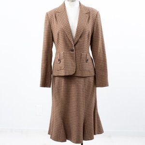 Vintage 90s M Wool Plaid Blazer Skirt Suit Brown